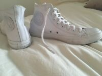 White Leather High Converse