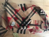 Burberry Red Hearts Parade Scarf 100% Cashmere