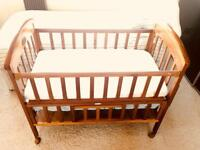 Pine Cot Bed with Breathable Mattress