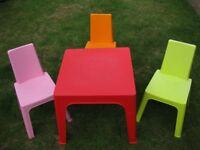 CHILDS TABLE AND 3 CHAIRS