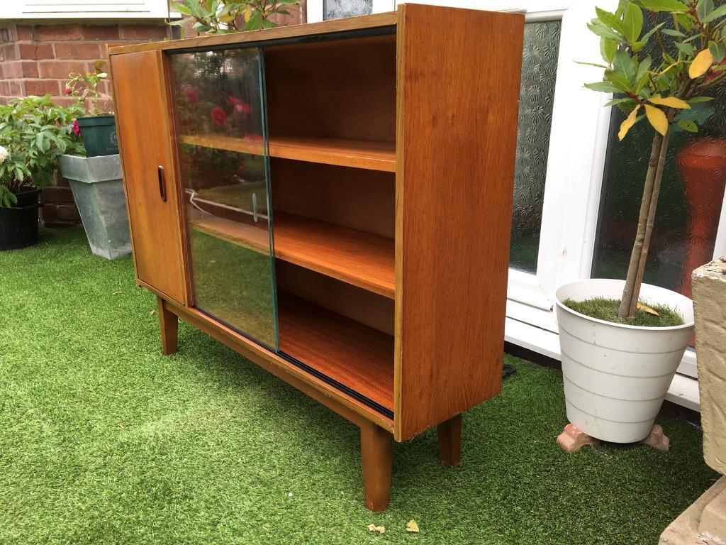 Vintage Retro Danish Style Teak Glazed 2 Sliding 3 Door Bookcase Display Cabinet Shelving Cupboard In Burton On Trent Staffordshire Gumtree