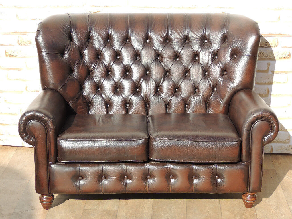 Antique Brown Leather High Back Chesterfield Sofa (Delivery)   in ...