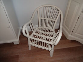 Small Childs Wicker Rattan Chair Hand Painted Cream