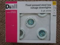 Boxed set of 5 Diall 45mm recessed MR 11 ceiling spotlights, full kit unopened.