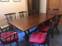 Dining table plus 8 chairs with cushions