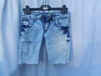 Denim shorts, Ladies; bleached look; UK size 8