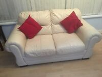 Ivory leather sofa-quality expensive piece