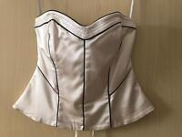 Cream coast corset with black piping, size 12