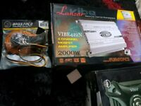 brand new vibe 2000w performance amp with base face wireing kit sony base face pioneer sub amp