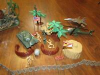 Toy Soldiers & Vehicles with Rocks & Trees Playset