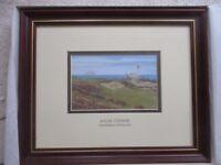 "UNUSUAL - Cash's Stevengraph Silk Woven Picture. Golf scene - ""Ailsa Course, Turnberry,"