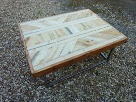 Reclaimed Wood Rustic Occasional Table with steel box section supporting structure.