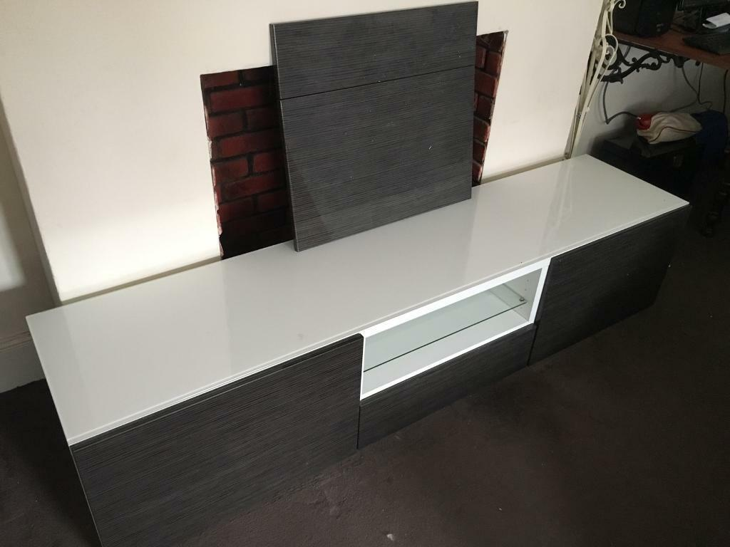 TV stand - side unit - glass and glass white