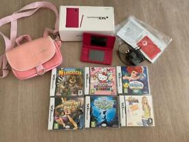 Hot Pink Nintendo DSi + 6 Games inc Disney & Hello Kitty + Bag