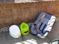 mothercare car seat and 2x ikea potty 1x baby bjorn potty