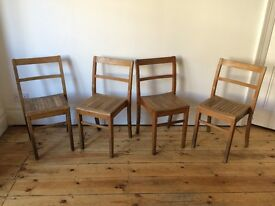 Vintage Full Size School / Office Stacking Slatted Chairs Kingfisher W Bromwich