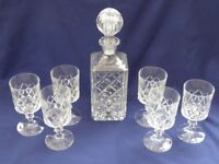 Lead crystal cut glass decanter and glasses
