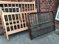 Solid wood double bed frame + vintage Somnus spring base
