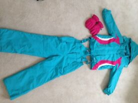 Girls Ski Outfit - jacket, salopettes and gloves ALMOST NEW, BARGAIN