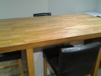 Ikea high bench table with 4 brown leather stools