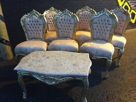 Just arived French carved sallon dinning room chairs or dressing chairs with arms or without arms