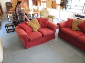 Red Fabric Sofa Set (removable covers)