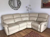 DFS leather 5 seater recliner corner sofa- cream