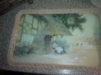 VINTAGE WOOD/MELAMINE WOVEN WICKER STYLE/KITSCH/RETRO SERVING TRAY. COUNTRY SCENE