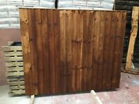 Feather edge fence panels pressure treated green/brown