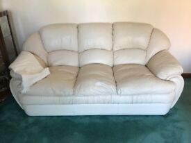 Cream leather 3 seater sofa and two chairs