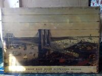 WOODEN WALL ART ADVERTISEMENT - GRAND BIRDS EYE VIEW OF THE GREAT EAST RIVER SUSPENSION BRIDGE 1885