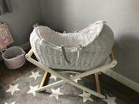 White wicker Noah Pod (Moses Basket) with a folding stand. Excellent Condition.