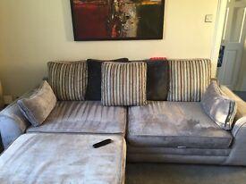 Three seater sofa and storage footstool