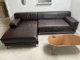 Pre-Loved Chaise End Leather Sofa