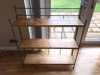 Solid pine and iron shelving display unit