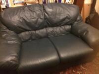 2 seater blue leather sofa.