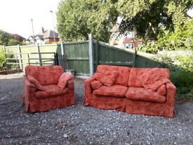 Sofa and matching chair - upholstered with washable covers and all cushions included