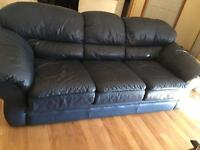 Dark blue leather couch