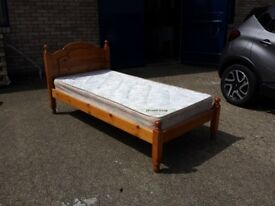 solid pine single bed frame with good clean mattress