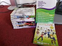 XBOX 360 with 2 controller and 8 games