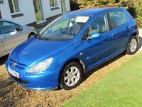 SUPERB PEUGEOT 307, UNMARKED, 1.6, A/C, NEW MOT, LOW INSURANCE, 50 MPG, ANY PART-EXCHANGE WELCOME