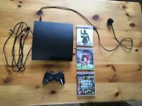 PS3 Sony PlayStation with 1 controller and 3 games