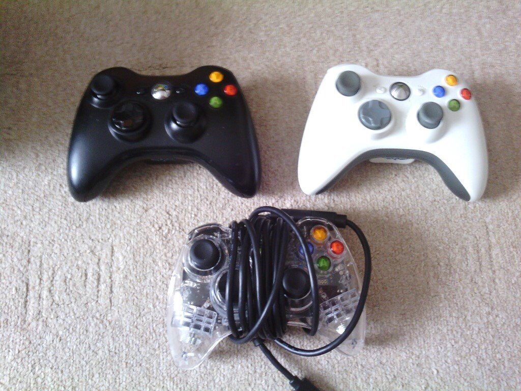Xbox 360 Wireless and Wired Controllers for Sale. White, Black and ...