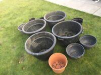 Job lot of plastic garden pots