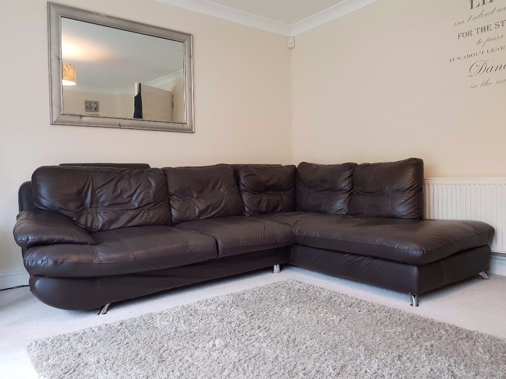 Corner Sofa Dark Brown In Loughborough Leicestershire
