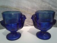 For sale. 2 vintage french glass egg cups.