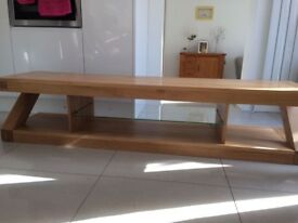 Solid Oak contemporary Z frame TV stand with Glass Shelf
