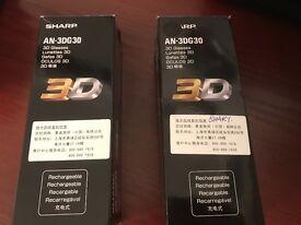 Sharp 3-D GLASSES. AN- 3DG30