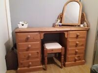 Pine dressing table with chair and mirror