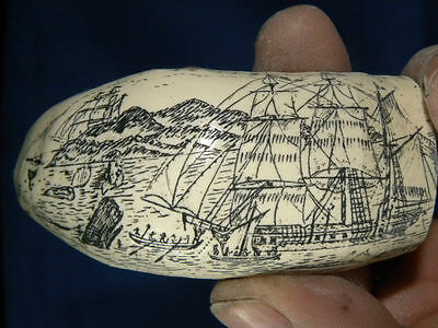 """SCRIMSHAW RESIN REPRODUCTION SPERM WHALE TOOTH  """" THE SHIP LION"""""""